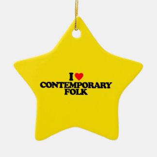 I LOVE CONTEMPORARY FOLK CERAMIC STAR ORNAMENT