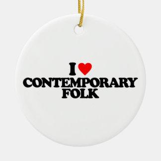I LOVE CONTEMPORARY FOLK ROUND CERAMIC ORNAMENT
