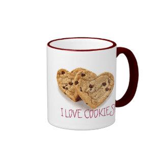 I LOVE COOKIES!!, YUMMY COOKIES!!! RINGER MUG