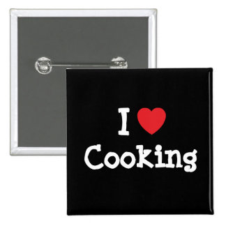 I love Cooking heart custom personalized 2 Inch Square Button