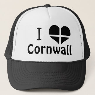 I Love Cornwall St Piran Flag Heart Design Trucker Hat