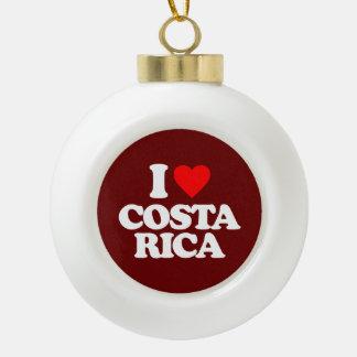 I LOVE COSTA RICA CERAMIC BALL CHRISTMAS ORNAMENT