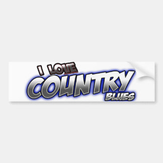 I Love Country BLUES music Bumper Sticker
