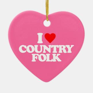 I LOVE COUNTRY FOLK CERAMIC HEART ORNAMENT