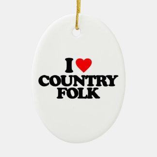 I LOVE COUNTRY FOLK CERAMIC OVAL ORNAMENT