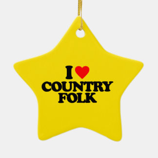 I LOVE COUNTRY FOLK CERAMIC STAR ORNAMENT