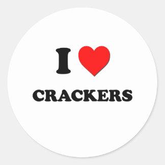 I Love Crackers ( Food ) Round Sticker