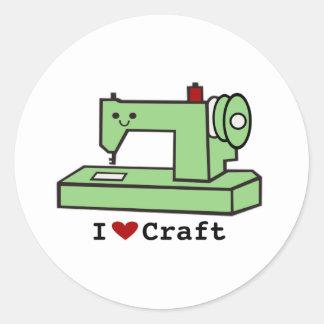 I Love Craft- Kawaii Sewing Machine Round Sticker