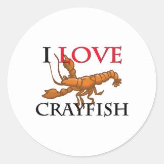 I Love Crayfish Round Sticker