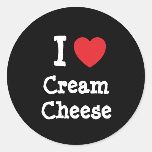 I love Cream Cheese heart T-Shirt Round Stickers