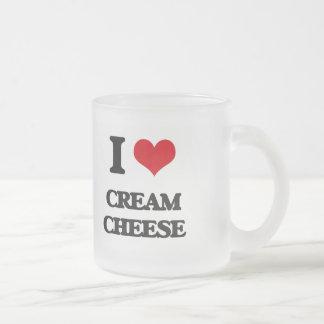 I love Cream Cheese 10 Oz Frosted Glass Coffee Mug
