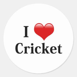 I Love Cricket Classic Round Sticker