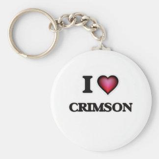 I love Crimson Basic Round Button Keychain
