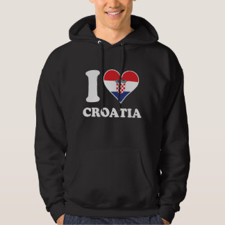 I Love Croatia Croatian Flag Heart Hoodie