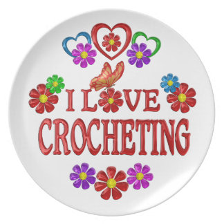 I Love Crocheting Party Plates