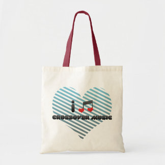 I Love Crossover Music Budget Tote Bag
