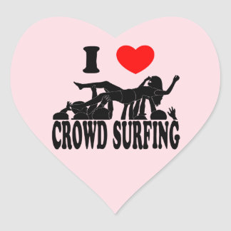 I Love Crowd Surfing (female) (blk) Heart Sticker