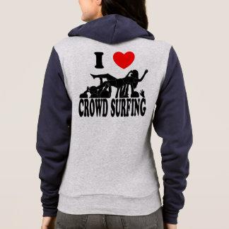 I Love Crowd Surfing (female) (blk) Hoodie
