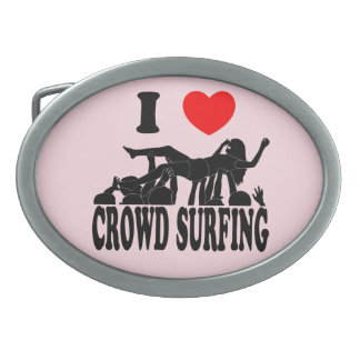 I Love Crowd Surfing (female) (blk) Oval Belt Buckles