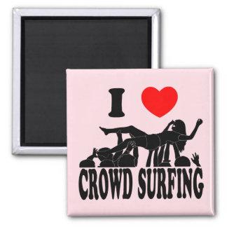 I Love Crowd Surfing (female) (blk) Square Magnet