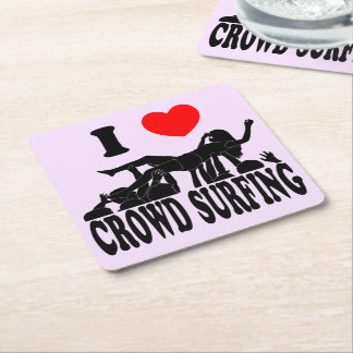 I Love Crowd Surfing (female) (blk) Square Paper Coaster