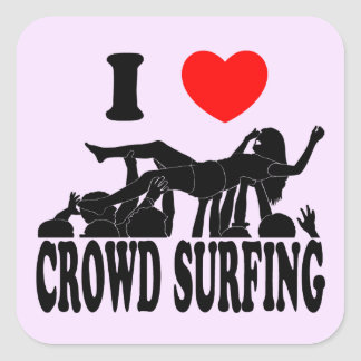 I Love Crowd Surfing (female) (blk) Square Sticker
