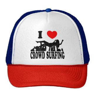 I Love Crowd Surfing (female) (blk) Trucker Hat