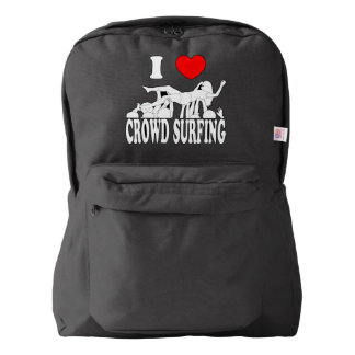 I Love Crowd Surfing (female) (wht) Backpack