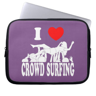 I Love Crowd Surfing (female) (wht) Laptop Sleeve