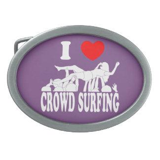 I Love Crowd Surfing (female) (wht) Oval Belt Buckle