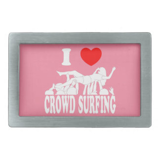 I Love Crowd Surfing (female) (wht) Rectangular Belt Buckle