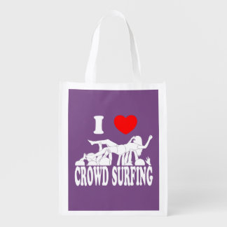 I Love Crowd Surfing (female) (wht) Reusable Grocery Bag