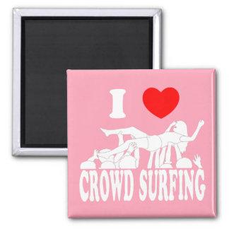 I Love Crowd Surfing (female) (wht) Square Magnet