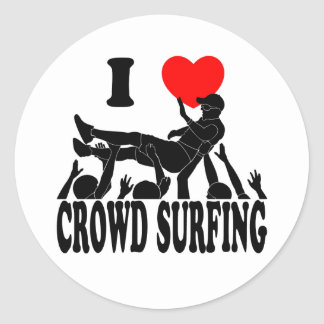 I Love Crowd Surfing (male) (blk) Classic Round Sticker