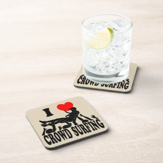 I Love Crowd Surfing (male) (blk) Coaster
