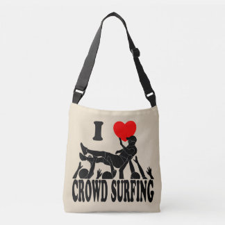 I Love Crowd Surfing (male) (blk) Crossbody Bag