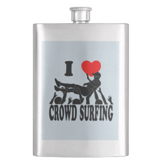 I Love Crowd Surfing (male) (blk) Hip Flask