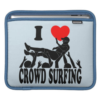 I Love Crowd Surfing (male) (blk) iPad Sleeve