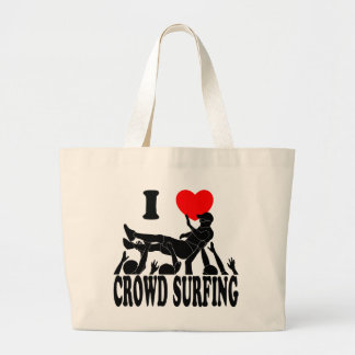 I Love Crowd Surfing (male) (blk) Large Tote Bag