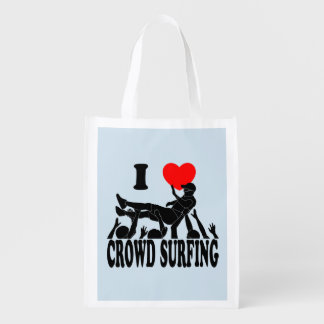 I Love Crowd Surfing (male) (blk) Reusable Grocery Bag