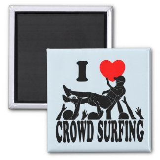 I Love Crowd Surfing (male) (blk) Square Magnet
