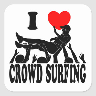 I Love Crowd Surfing (male) (blk) Square Sticker