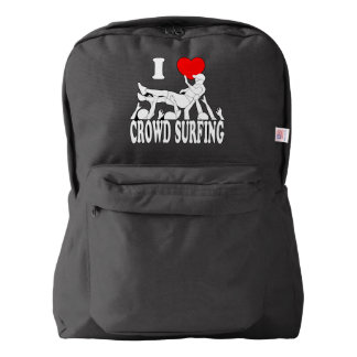 I Love Crowd Surfing (male) (wht) Backpack