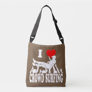 I Love Crowd Surfing (male) (wht) Crossbody Bag
