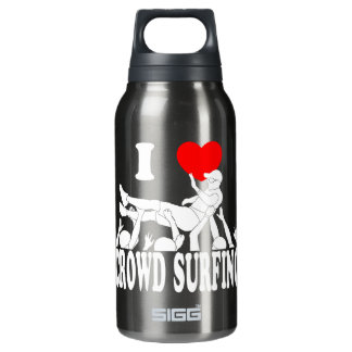 I Love Crowd Surfing (male) (wht) Insulated Water Bottle