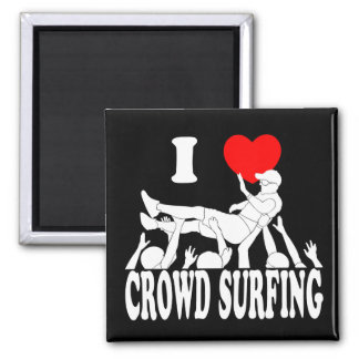 I Love Crowd Surfing (male) (wht) Square Magnet