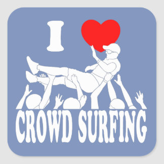 I Love Crowd Surfing (male) (wht) Square Sticker