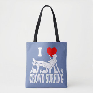 I Love Crowd Surfing (male) (wht) Tote Bag