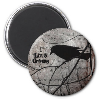 I Love Crows 2 Inch Round Magnet