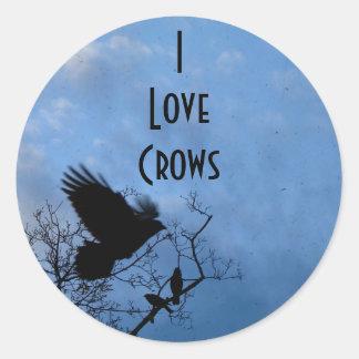I Love Crows Round Sticker